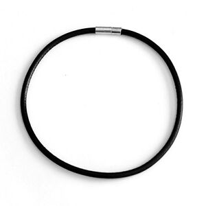 Choker Necklace 3.5mm Black Leather Cord Bayonet Clasp