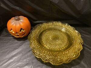 Amber Iridescent Carnival Glass Plates. Set Of 4