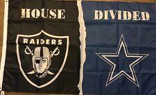 Oakland Raiders Dallas Cowboys House Divided Flag 3x5 ft Banner Nfl Football