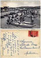 Cartolina di Andora, spiaggia con bagnanti - Savona, 1955