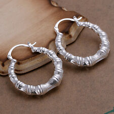 Free shipping wholesale sterling solid silver bamboo hoop Earrings XLSE139