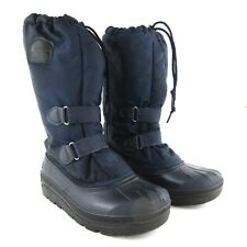 Sorel Women's Tall Winter Boots Blue Rubber Nylon Pull On Snow Shoes US 8/EU 39