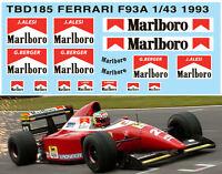 1/43 FERRARI F93A F1 1993 SPONSOR DECALS TB DECAL TBD185