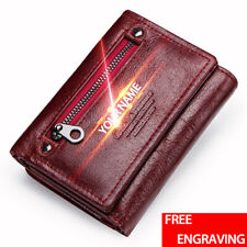 Genuine Leather Wallet Women's Trifold Card Holder RFID Soft Front Pocket Purse