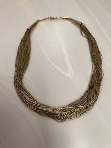 """Native American Liquid Silver Gold Filled 50 Strand Necklace 16"""" 37 Grams VTG"""