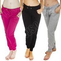 New Ladies Plain Joggers Jogging Tracksuit Bottoms Gym Pants Trousers Size 8 14