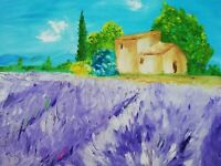 Oil Original painting Provence France on canvas large size 20x16 inches
