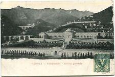 1908 Genova Camposanto Veduta Generale Dall'Alto Monti Pini FP B/N VG
