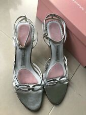 BNWT FILIPPA SCOTT Silver Bridal Wedding Shoes Size 6 (40) Leather NEW Slingback