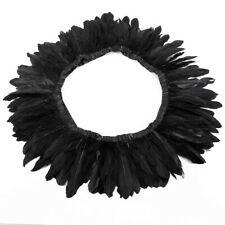 Black 200cm Goose Feather Skirt Trimming Cloth Fringe Sewing Millinery