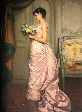 Fine Oil painting lady portraits wearing nice pink Evening dress holding flower