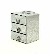 Galvanized Storage Box with 3 Drawers-6 High