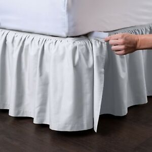 Detachable Dust Ruffle, Ruffled Bed Skirt Easy On/Easy Off Comes in 9 colors -