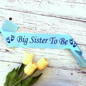 Blue 'Big Sister To Be' Baby Shower Satin Sash Boy Gender Reveal Gift for sister