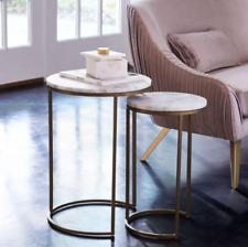 John Lewis & Partners Round Nesting Side Table Set - White / Brass **RRP £399**