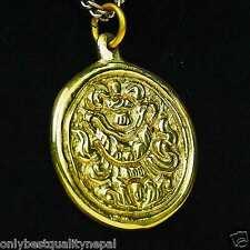 Pendant Buddhism Gold Amulet Brass Lucky Symbol Talisman Lucky Charm a89