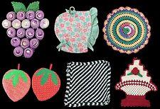Lot of 7Hand Made Vintage Pot Holders Bonnet Grapes Strawberries etc.