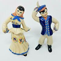 Vintage 1950s Dancing Couple Ceramic Porcelain Figurines European Boy And Girl