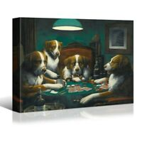 """18x12"""" Dogs Playing Poker Canvas Wall Art Print Framed Living Room Bedroom Decor"""