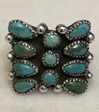Vintage Navajo Sterling Silver Turquoise Butterfly Cluster Ring  Size 4.75  #109