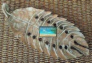 Wooden Leaf Sculpture Platter Brown Whitewash 50cm NEW