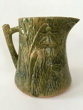Rare! Antique Green-Glaze YellowWare Faux Bois / Wood Grain Pitcher with Flower