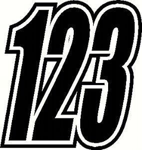"""Race Numbers 6"""" & 5""""  x3 Vinyl Stickers/Decals Motorbike Motorcross"""