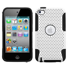 White Black Dual Layer Hybrid Hard + Soft Silicone Case Cover iPod Touch 4th Gen