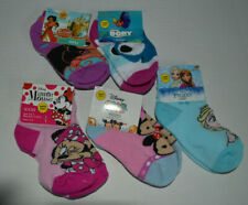 Lot 5 Pair Minnie/Dory/Tsum/Elana Toddler Girls Socks Size 5-6.5 Shoe 5.5-8.5
