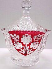 Vintage Anna Hutte Bleikristall Crystal Red Flower Pattern Textured Candy Dish