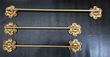 Vintage Hollywood Regency Brass Floral Design Towel Bars-Set of 3