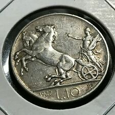 1927 ITALY SILVER 10 LIRA CHARIOT COIN