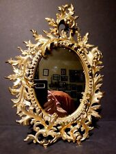 45206d18ff7dc Antique Ornate Baroque Rococo Gilt Metal Acanthus Leaf Standing Vanity  Mirror