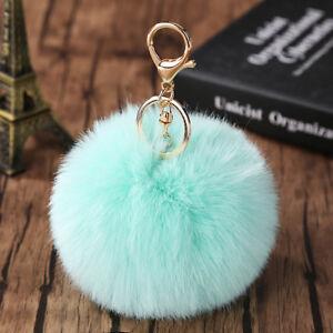 10CM Faux Rabbit Fur Fluffy Pompom Ball Handbag Car Pendant Charm Key Chain