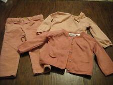 ZARA BABY GIRL 6-9-12 74 78 PINK SHIRT SWEATER PANT LOT