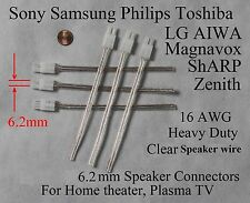 6 6.2mm 16Awg speaker connectors made for select Sony Samsung Lg Philips Ht/Tv