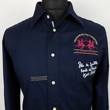 LA MARTINA Mens Shirt Polo MEDIUM Long Sleeve Blue Regular Fit  Cotton