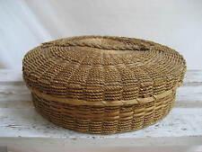 "Vintage Large Sweet Grass Basket With Lid Handle on Top Lid Has Damage 12.5"""