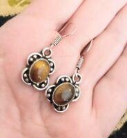 Vintage Sterling Silver Tiger's Eye Agate Small Drop Dangle Earrings #494
