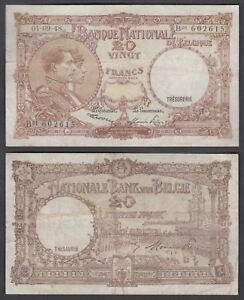 Belgium 20 Francs 1948 in (F-VF) Condition Banknote P-116