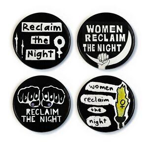 Women Reclaim the Night 1977 - 4 x Button Badge Set - 1 inch  - Sarah Everard