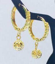 18K Solid Yellow Gold Diamond Cut Dangling Hoop Ball Earrings