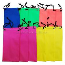 12 Vinyl Neon Eyewear Drawstring Pouches Sunglasses PVC Soft Case Bright Colors