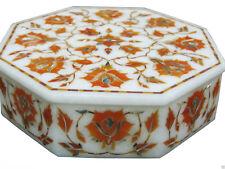 Marble Jewelry Box Semi Precious Stone Carnelian Pietra Dura Handicraft Gift