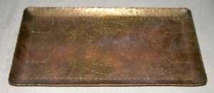 Antique Large Handcrafted & Etched Heavy Bronze Tray