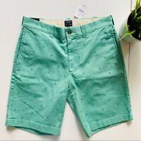 J. CREW Anchor Khaki Chino Shorts Teal Green w/ Turquoise Blue Men's 29 NWT