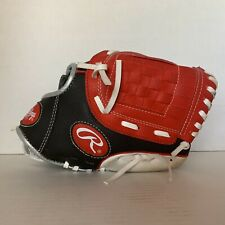 Rawlings Player Series 10` Youth Basket Web Glove Black/Red Rht (Pl10Dssw)