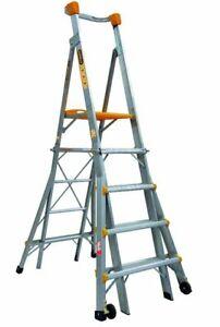 Gorilla Aluminium Adjustable Platform Ladder 1.5m - 2.4m 180kg Industrial