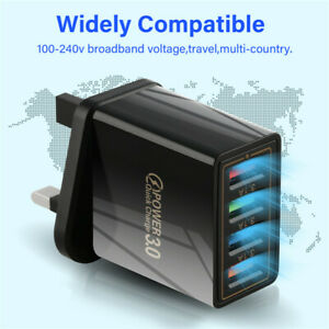 4 Multi-Port QC3.0 Fast Quick Charge Mains Wall Charger Adapter USB Hub UK EU US