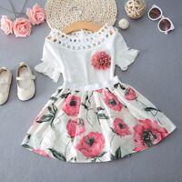 2PCS Toddler Kids Baby Girls T-shirt Tops+Skirt Dress Summer Outfits Clothes Set